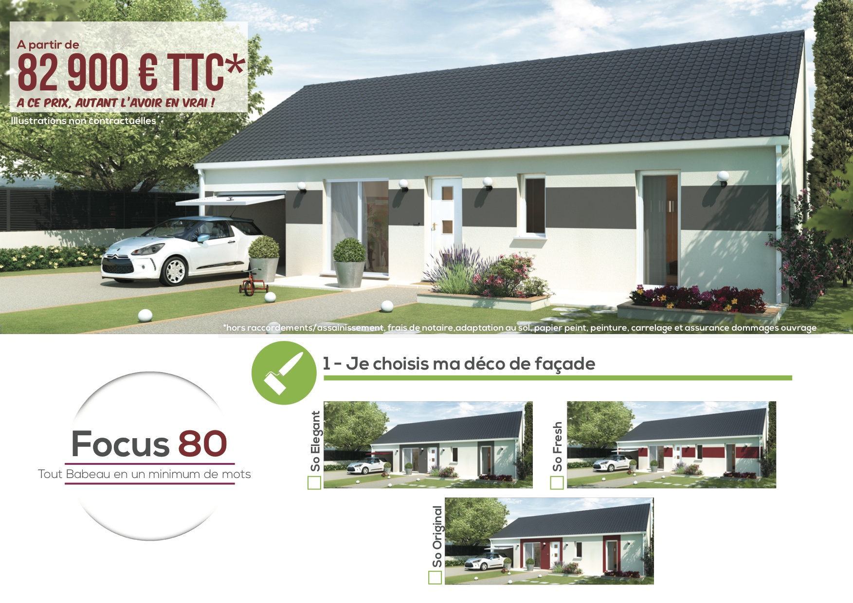 Plan maison focus 80m2 for Assurance maison comparateur de prix